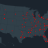 A map featuring all of the school shootings in the US since 2013.