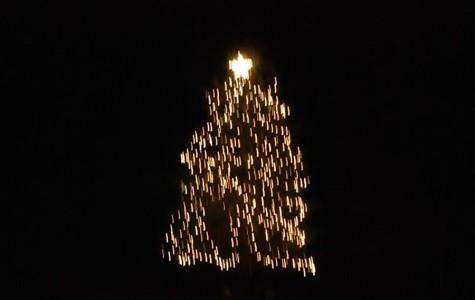 Winter holiday decorations around Westford