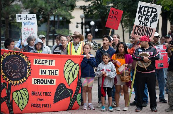 People protesting the Dakota pipeline.