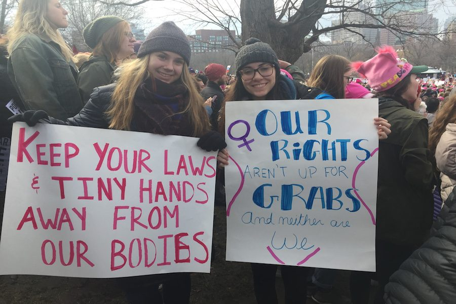 Two+women+at+the+Boston+Women%27s+Rights+March+protesting+for+their+rights.