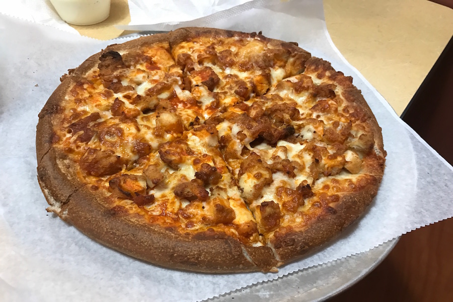 A small buffalo chicken pizza