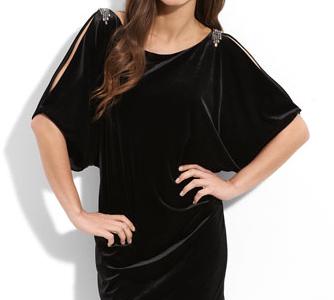 Aidan Mattox Cutout Sleeve Velvet Dress nordstrom.com