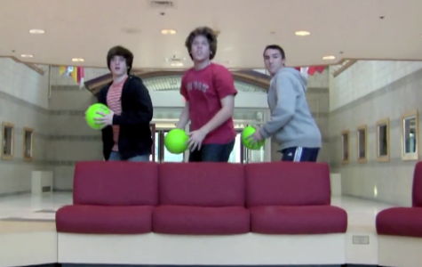 A scene from a commercial for the dodgeball tournament made by Michael and Stephen Messina
