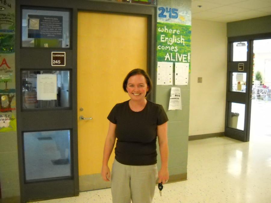 Mrs. Dowd in the English hallway