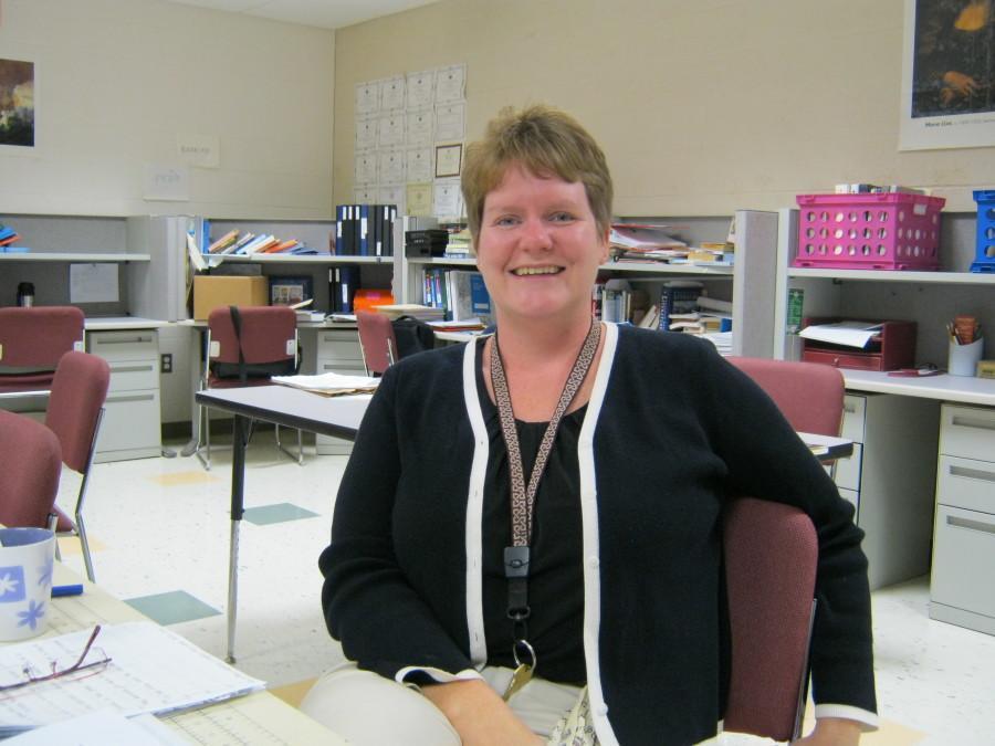 Mrs. Flinner in her classroom.