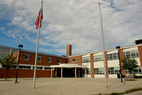 The front of Lexington High, where Goldberg now works.