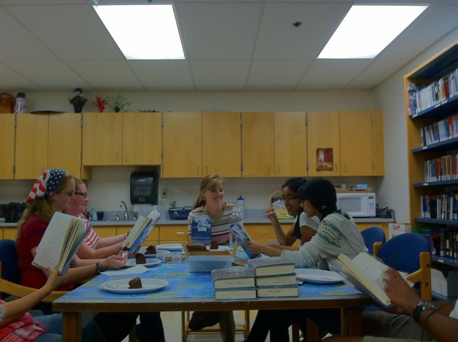 Westford Academy Library Club meets to discuss this month's novel.