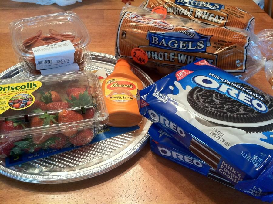 An assortment of foods purchased by a member of Student Council for the Teacher Appreciation Week.
