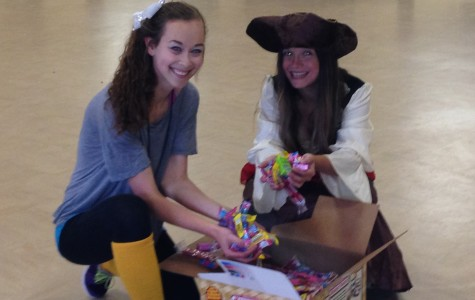 Marhefka preparing for Halloween at after-school with Tamara.