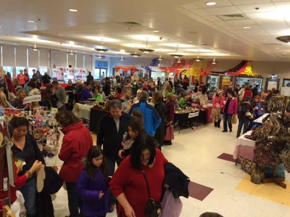 The cafeteria during the Holiday Bazaar