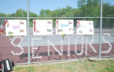 The Girls' Tennis team's decorations for senior night on Tuesday, May 26.