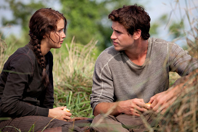In+the+beginning+of+the+movie%2C+Gale+and+Katniss+talk.
