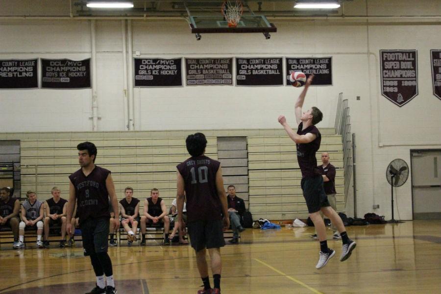 Brendon+Teirney+serves+the+ball