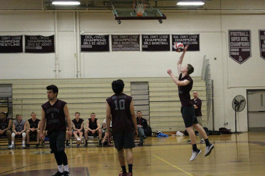 Brendon Teirney serves the ball