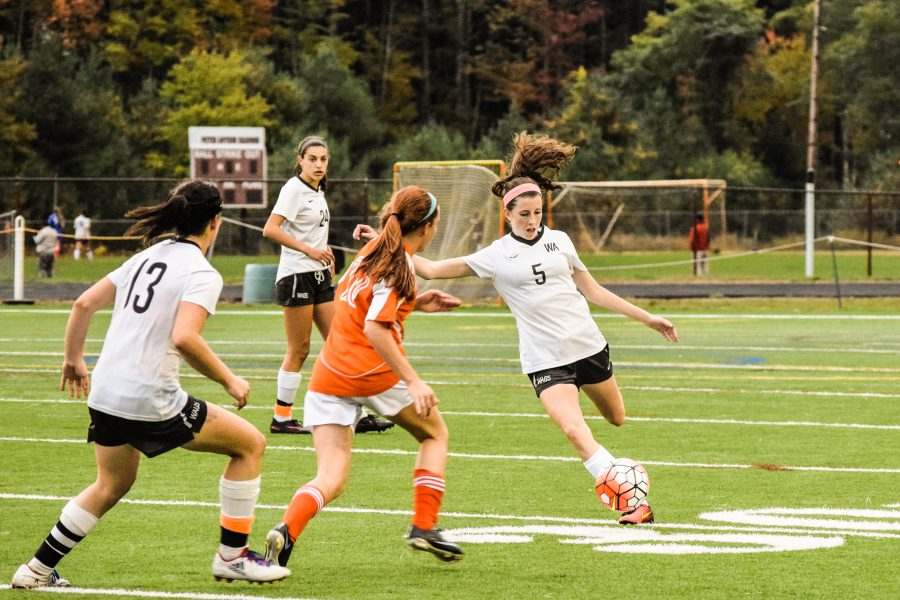 Junior Maeli Cherry defends Westford Academy's goal.
