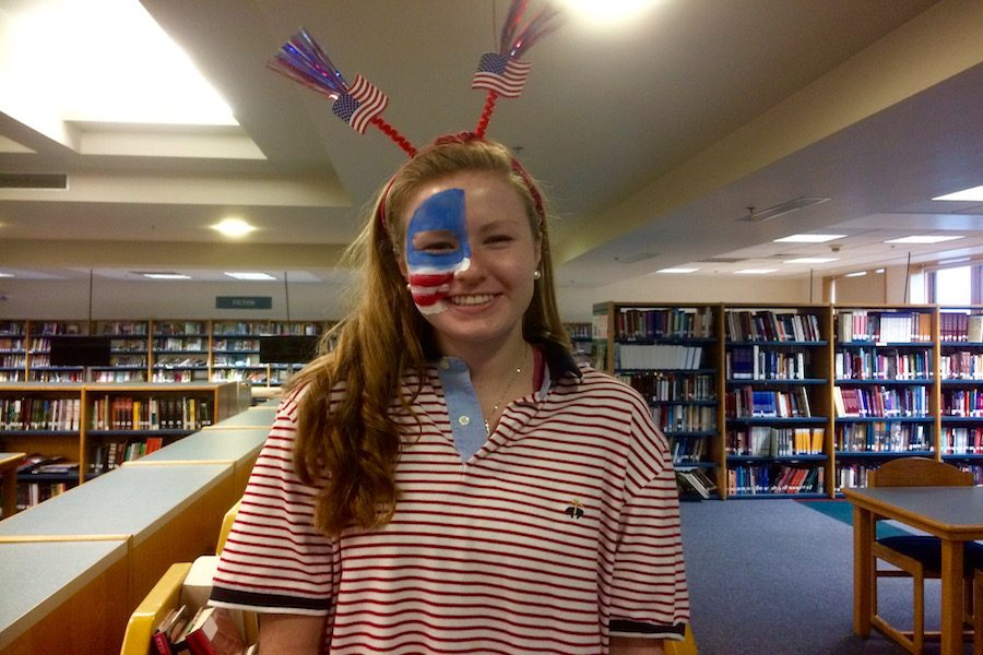 Senior and head of the spirit week committee, Lauren Flynn dresses up for her favorite of the spirit days, USA day.