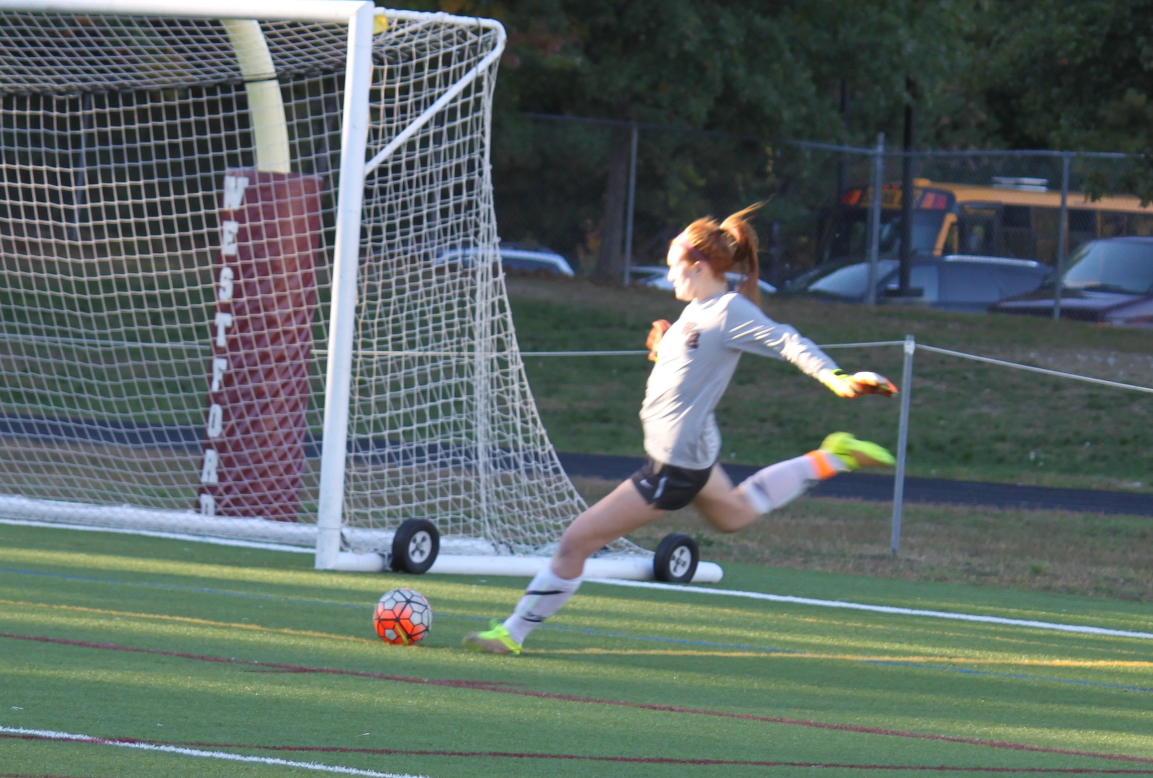Goalkeeper+Emma+O%27Sullivan+sends+the+ball+toward+the+Weston+goal.