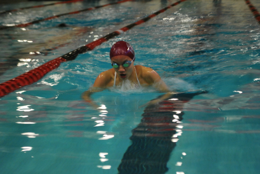 Sophomore Tiffany Tseng swims the 200 IM