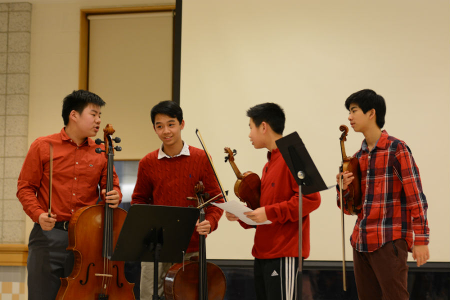 Sophomores+Anthony+Ma%2C+Chris+He%2C+Jacob+Wang%2C+and+Joey+Shen+after+the+performance+%28left+to+right%29.