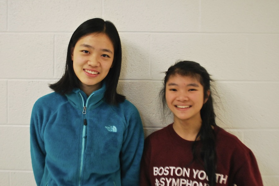 Sophomore from Beijing Lemona Niu (left) with the student she's shadowing, WA sophomore Jessica Wong (right).