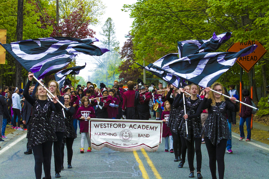 From Main Street to Abott Elementary School, the WA marching band and color guard lead the morning parade.
