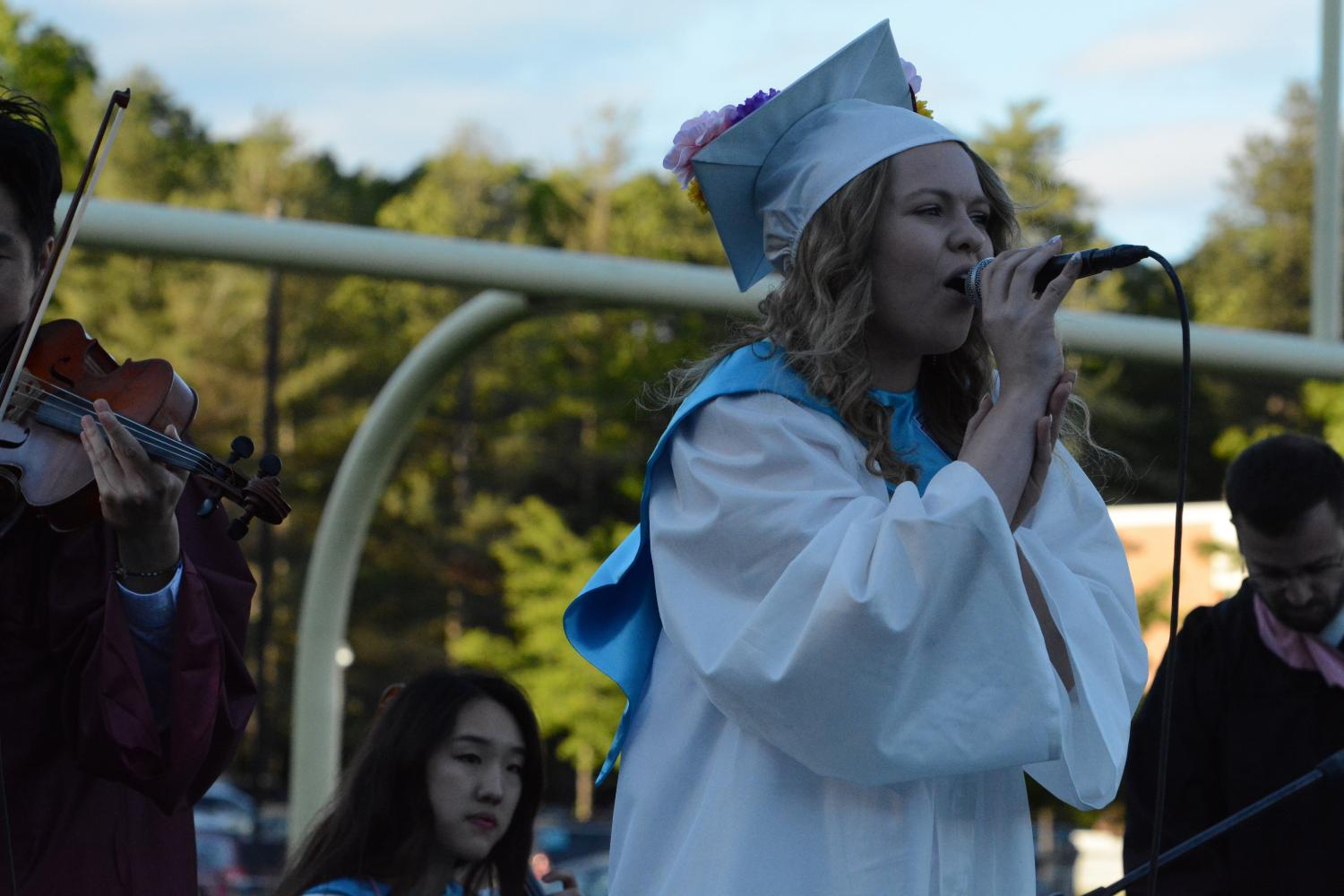 Class+of+2017+musician+Gillian+Limbert+singing+a+rendition+of+%22Ain%27t+No+Mountain+High+Enough%22+with+the+class+of+2018+band.