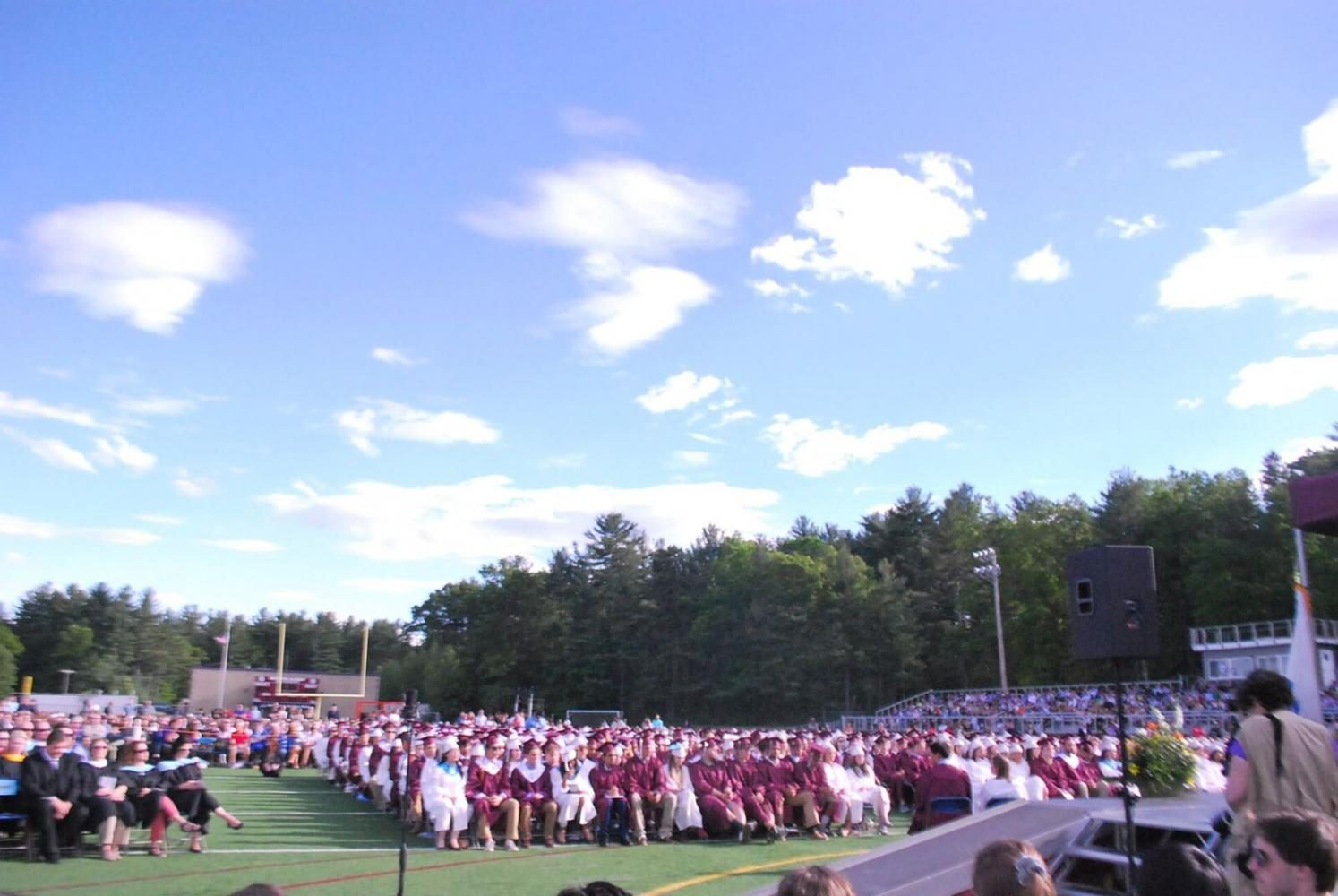 Everyone is seated on the WA Trustees Field in anticipation for the start of the ceremony.
