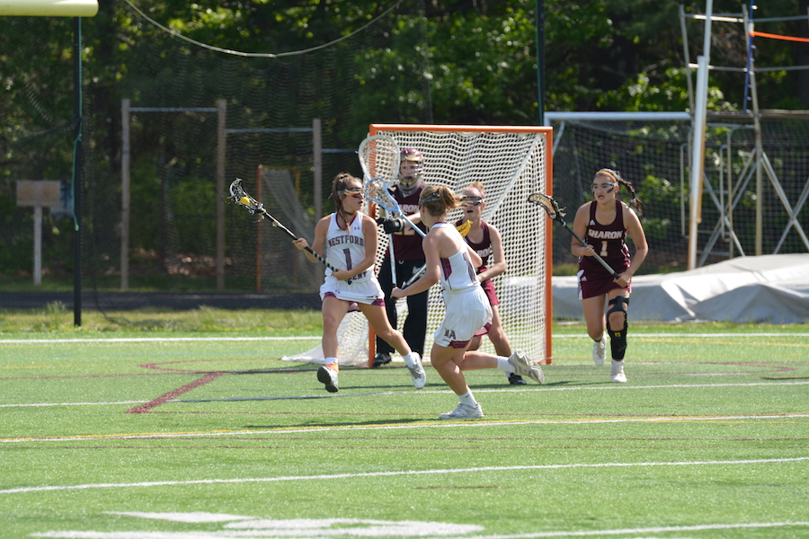 Senior attacker Gibson Leah and senior defender Colleen Ellis look for an opening to pass the ball