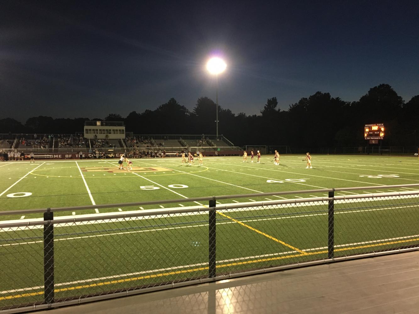 The second half of the game was played under the lights at CC