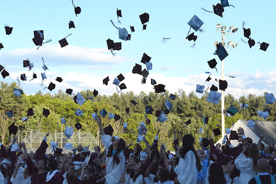 Closing+the+ceremony%2C+graduated+Class+of+2017+seniors+throw+their+grad+caps+in+the+air+to+celebrate.