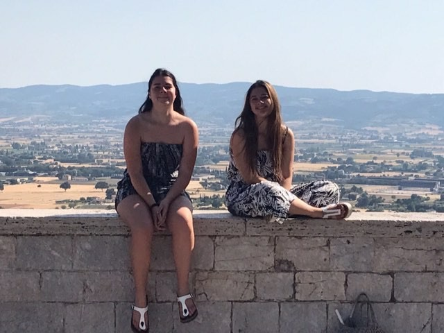 Italian exchange student Cecilia Versari (right) with her sister (left) in Italy