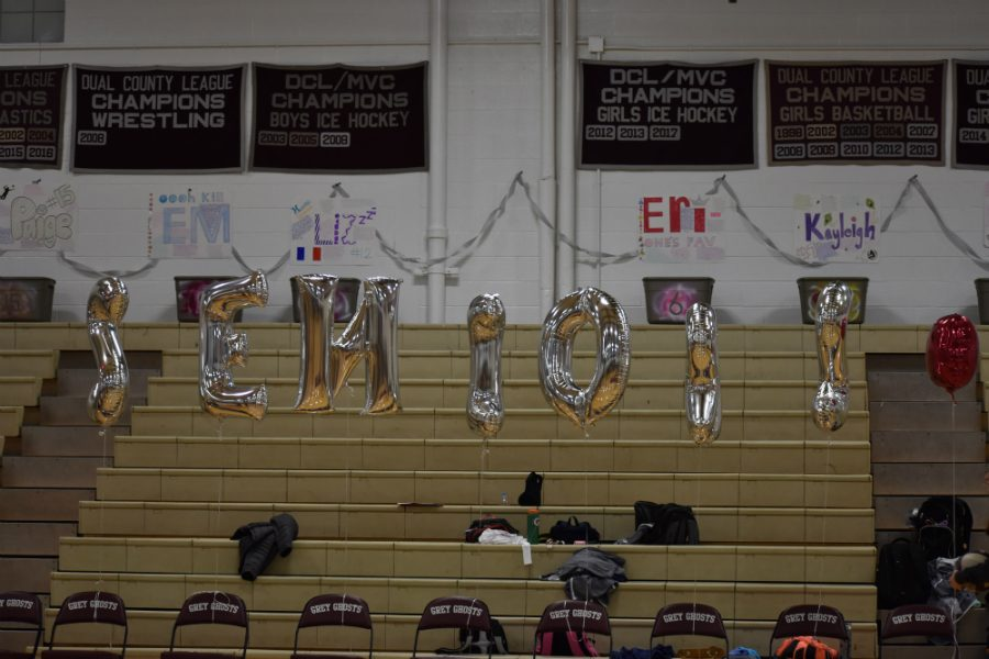 Balloons+hang+in+the+gym+to+celebrate+Senior+Night.
