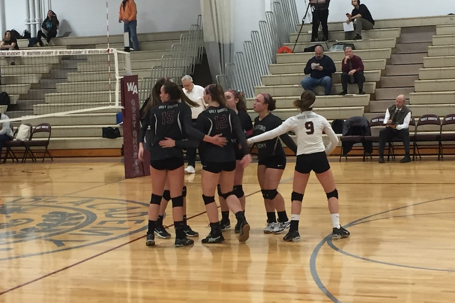 Emily, Marina, Paige, Caitlin, and Elizabeth in a group hug before play.