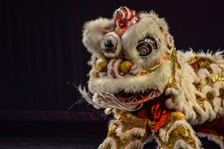 Performers from Boston's Chinese Folk Art Workshop dance in LED decorative lion suits.