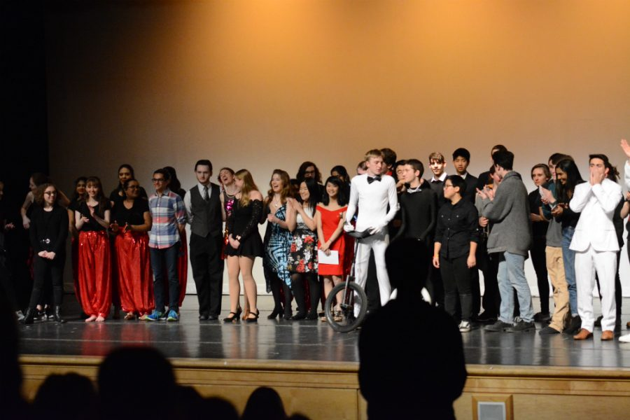 All the performers gather on the stage at the end of the night.