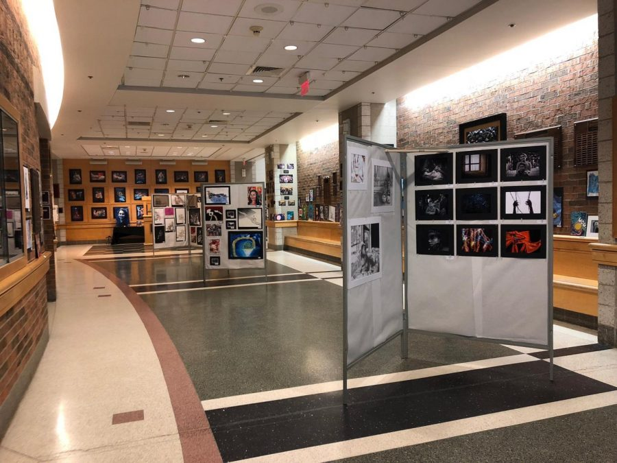 A view of the art show in the bell lobby as seen from the entrance