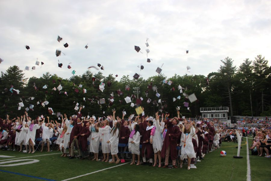Graduation+concludes+as+the+Class+of+2018+throws+their+caps+into+the+air.