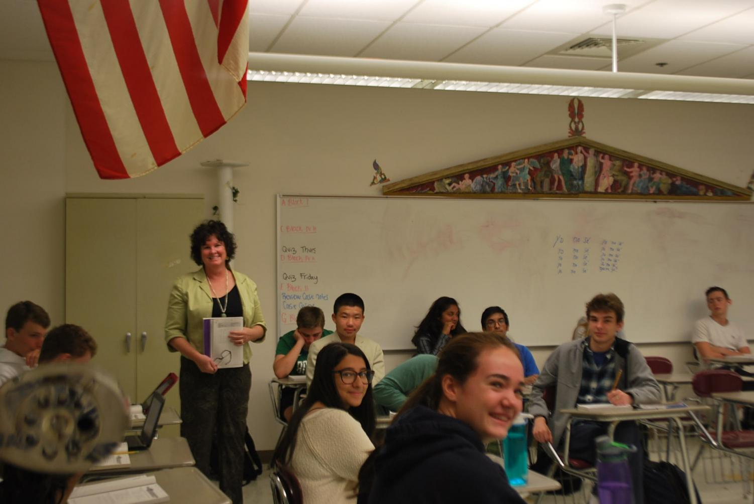 Ms. Block teaches her Spanish 1 class.