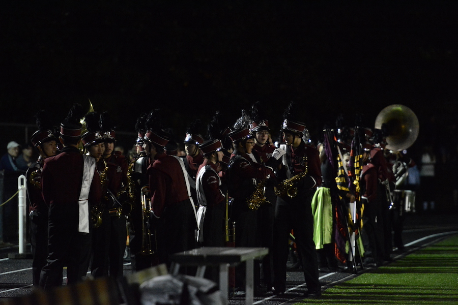 The+WA+marching+band+prepares+to+take+the+field+to+preform+the+halftime+show.