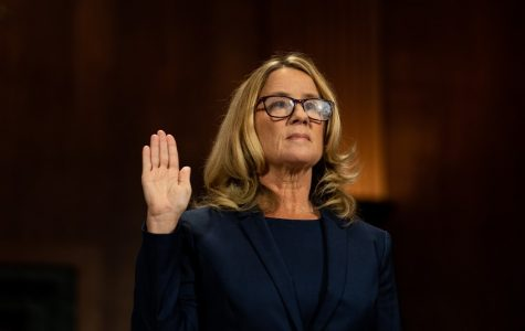 Christine Blasey Ford swearing an oath at the Senate Judiciary hearing on her sexual assault allegations