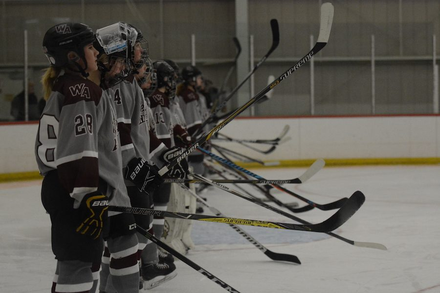 Players+raise+their+sticks+as+the+National+Anthem+ends.+