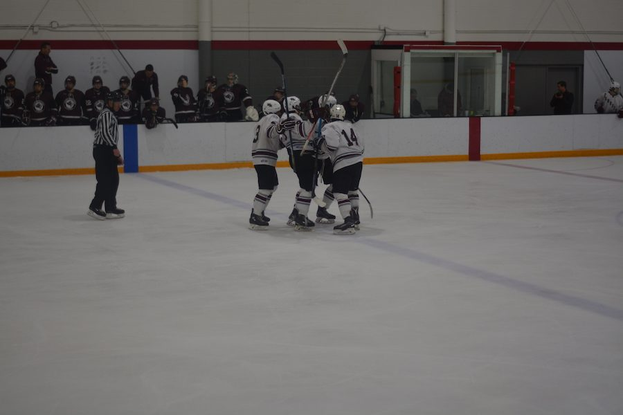 Ghosts celebrate after scoring on Chelmsford.