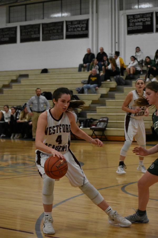 Sophomore+Elizabeth+Nolan+dribbles+the+ball+across+the+court.