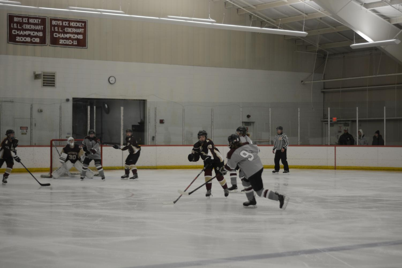 Sophomore+Meghan+Mulhern+takes+a+shot+on+the+CC+goalie.