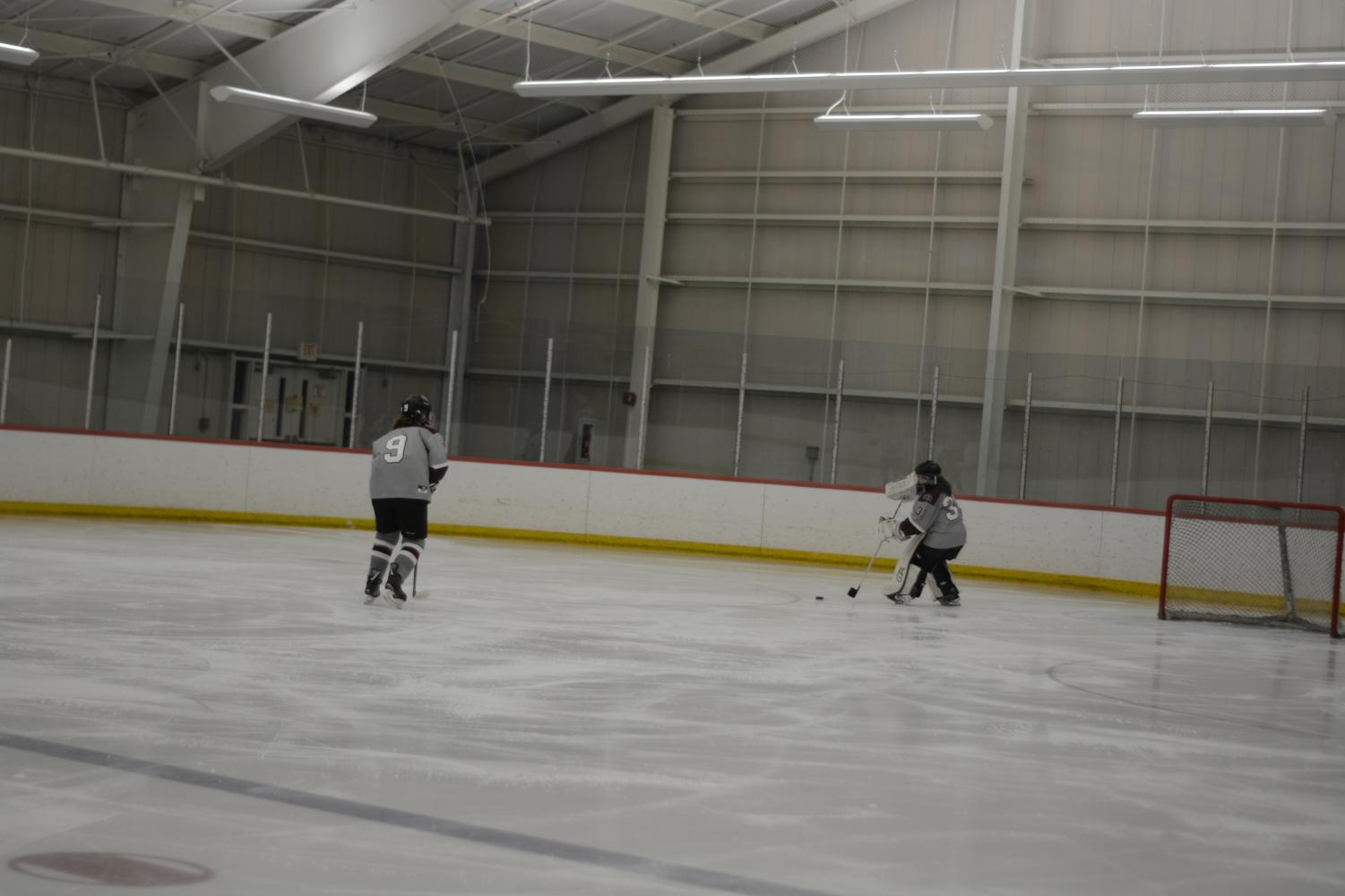 Junior+Goalie+Allie+Dean+passes+the+puck+to+a+teammate+from+the+goal.