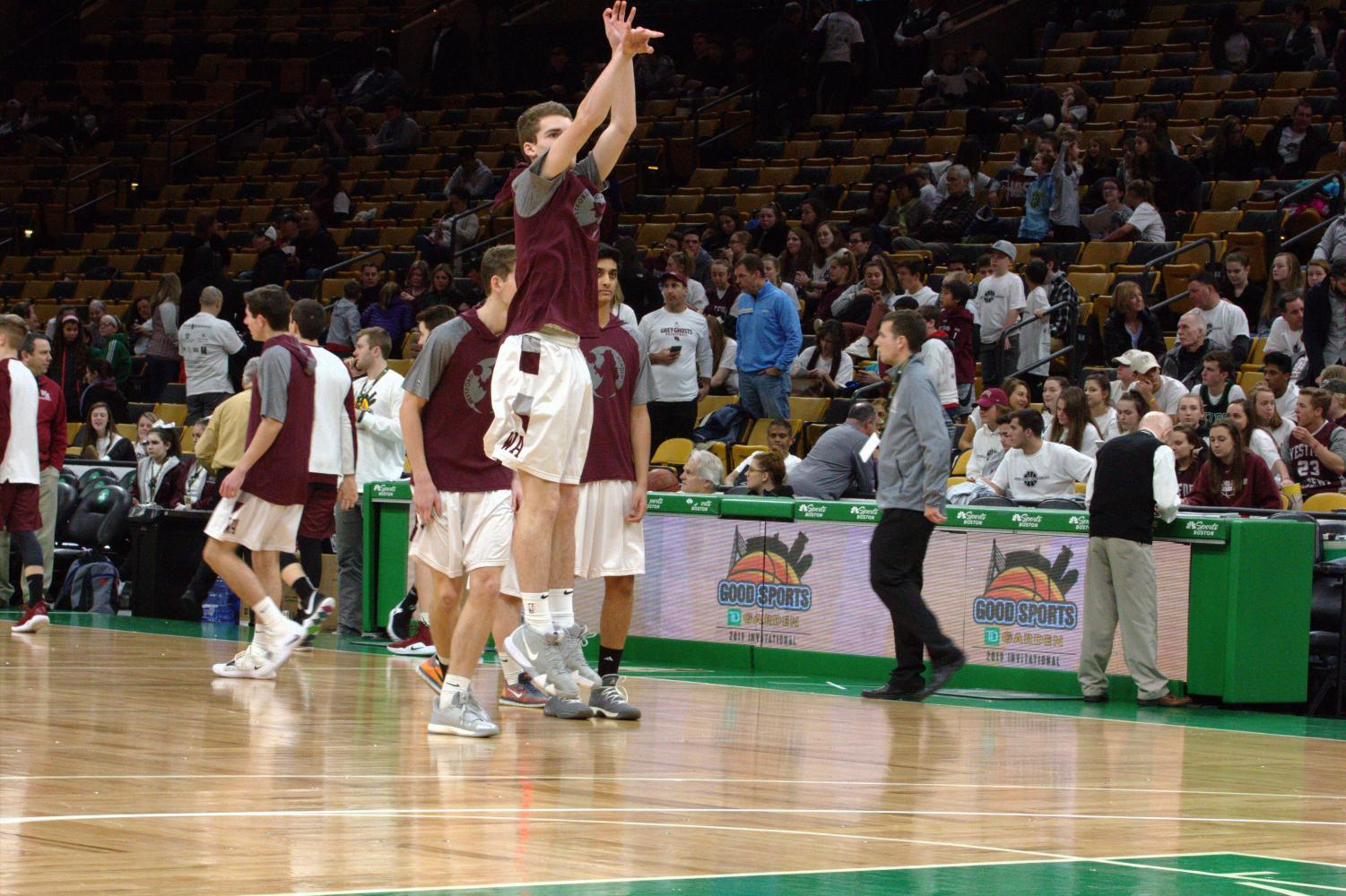 Senior+Michael+Zacharchuk+shoots+a+three-pointer+during+warmups+for+WA%27s+game+against+Groton-Dunstable.