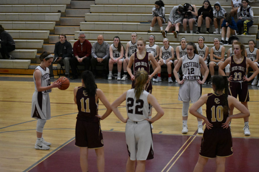 Junior+Alexandria+Giovino+takes+her+free-throw.