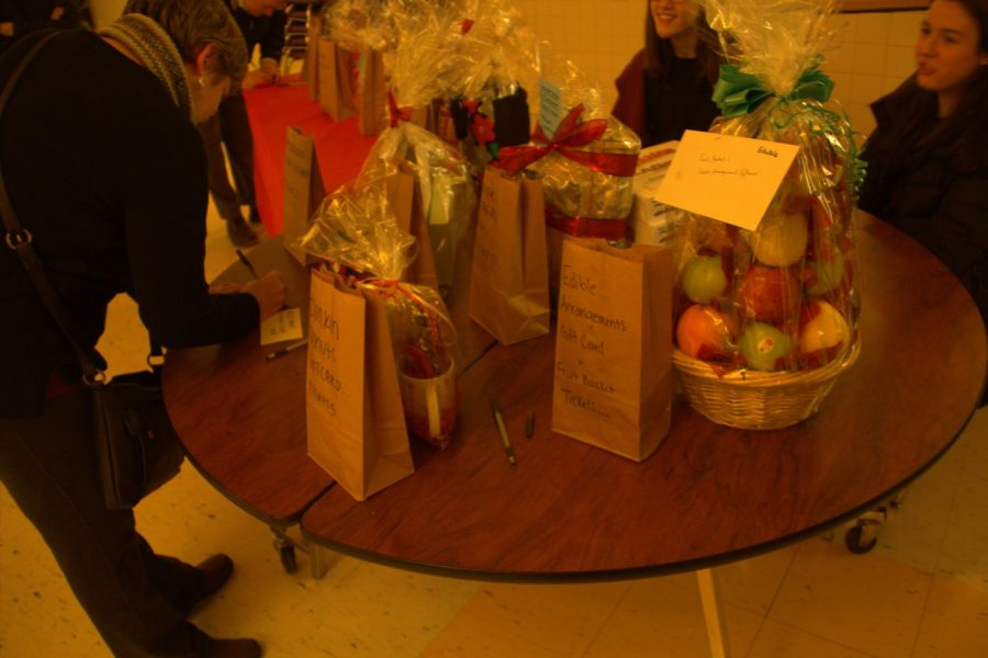 Multiple baskets with food, games, and other prizes were raffled off.