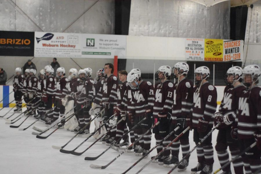 Westford+Academy+lines+up+for+the+national+anthem