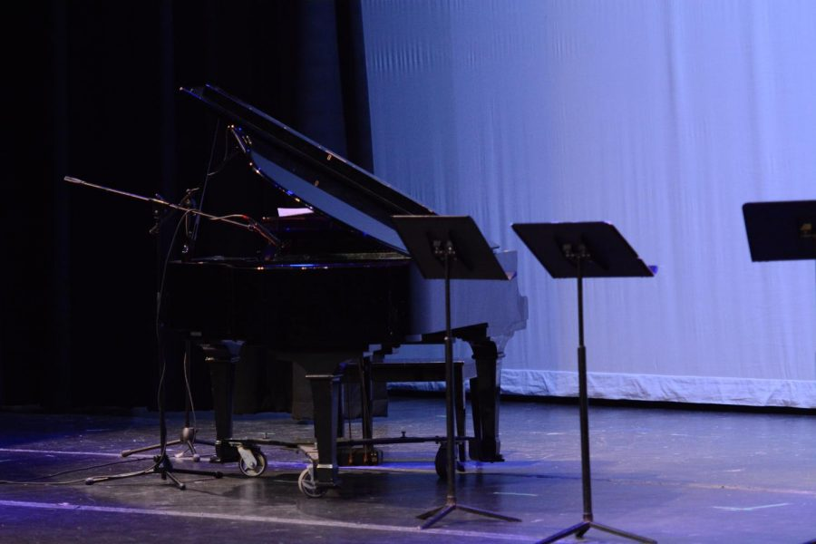A piano set up before the talent show.